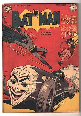 DC Comics BATMAN Golden age #52 Classic Joker cover VG+ 4.5 1949