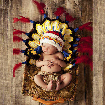 Newborn Babys Crochet Knit Costume Photo Photography Prop Outfits Indian Cap