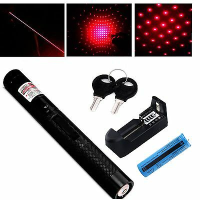 Red/Green 303 Adjustable Focus Military Laser Pointer Pen+18650 Battery+Charger