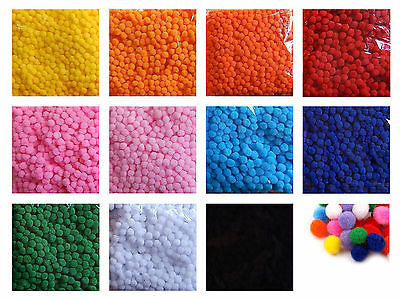 100 oder 1000 x POMPONS ab 0,01 €/St. Bommel Farbauswahl oder Mix 13 mm