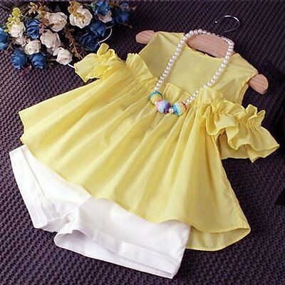 Toddler Kids Baby Girls T-shirt Dress Tops+Shorts Pants Outfits 2PCS Clothes Set