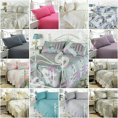 Quilted Embossed Patchwork Vintage Bedspread Throw 2 Pillow Shams Double King