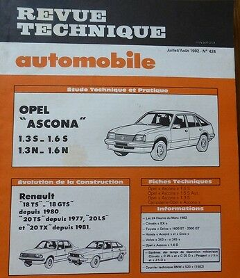 NEUF Revue technique OPEL ASCONA 1.3 1.6S 1.3N 1.6N RTA 424 1982 RENAULT 18 R20