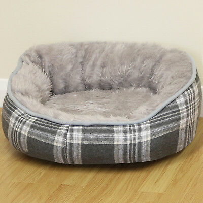Small Grey Check Super Soft Fur Round Dog/Puppy/Cat Pet Bed Cushion/Fleece S