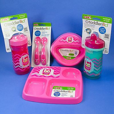 Sippy cup Insulated toddler baby no tip 3 section plate or bowl pink owl NO BPA
