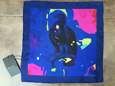 Paul Smith Golden Eagle Print Silk Pocket Square Made In Italy