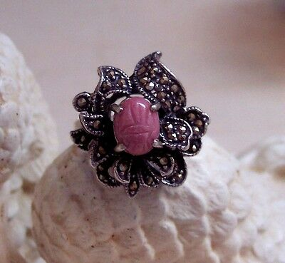Beautiful Rhodochrosite Floral Egyptian Scarab Ring! 5.5-6 HUGE AUGUST SALE!