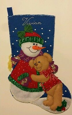 "Felt Christmas Stocking ""Vivian"" Snowman & Bear Finished Completed Glass Beads"