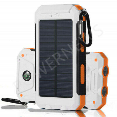 2020 Waterproof Solar Power Bank 2000000mAh Portable Battery Charger White New
