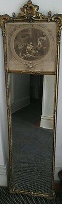 Pair(2) Of French Style Gilt Wood Framed Trumeau Mirror