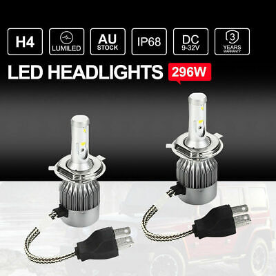 296W H4 LED Headlights Kit Lumiled Bulbs Hi-Lo Beam OEM Replace Halogen Xenon