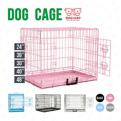 Pet Carrier Playpen Metal Folding Dog Cage Puppy Crate 5 Sizes 4 colour Training