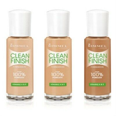 Rimmel Clean Finish Foundation contains vitamins 30ml World Wide Free Postage