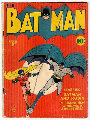 DC Comics BATMAN Golden age #6 1941 VG  Classic cover and story