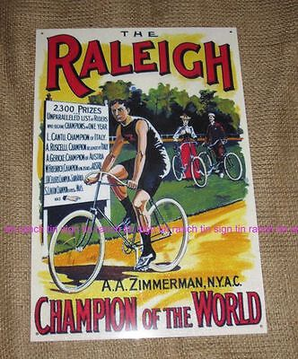 RALEIGH bicycle Zimmerman TIN SIGN Vintage bike CYCLING poster Oz Tour de france