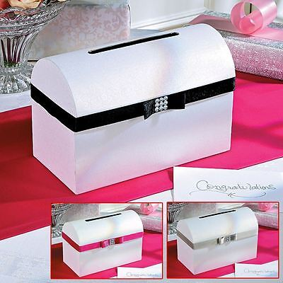 Jewelled & Bow Well Wishing Wedding Card Box With 48 Country Lace Guest Cards