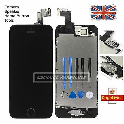 For iPhone 5S LCD Display Touch Screen Digitizer Home Button & Camera Black UK