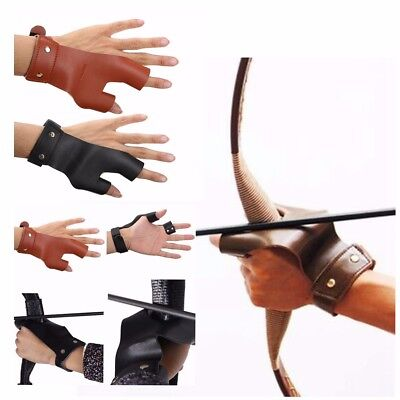 Traditional Leather Arrow Glove Bow Finger Hand Guard Archery Hunting Shooting
