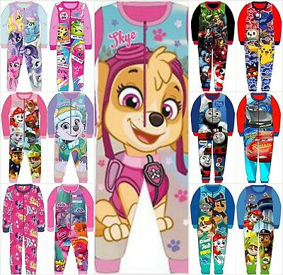 Character Fleece All In One Pyjamas Sleepsuit Nightwear Kids Boys Girls Age1-10Y