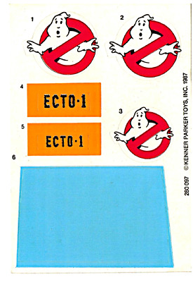 Replacement Sticker  Label Sheet For Vintage Kenner The Real Ghostbusters Ecto-1