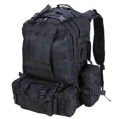 Large 55L Backpack Camping Hiking Camp Travel Rucksack Molle Tactical Black