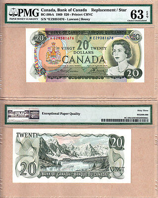 1969 $20 BC-50bA *EZ Replacement Bank of Canada Note; PMG Choice UNC63 EPQ