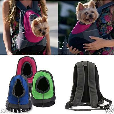 Puppy Backpack Carrier Pet Dog Cat Kitten Front Travel Double Sling Shoulder bag