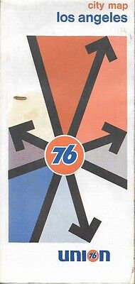 1973 UNION 76 Road Map LOS ANGELES California Route 66 Santa Monica Hollywood