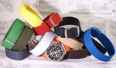 Woven perlon tropic pull through nylon watch strap 13 colours Free pins and tool