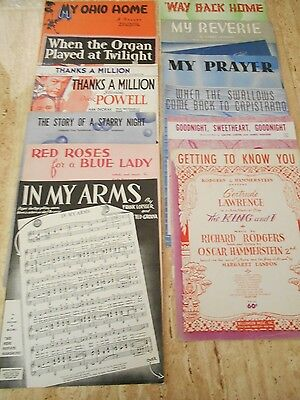 Vintage Lot Of 12 Pieces Of Sheet Music 20's - 50's