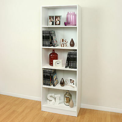 5 Tier Wooden White Home/Office Bookcase Storage Display Unit Shelving/Cabinet