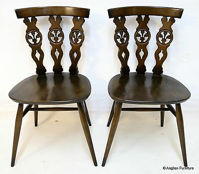 2 Ercol Dining Chairs Fleur De Lys Backs, FREE Nationwide Delivery