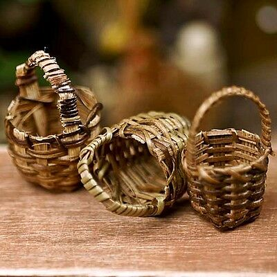"Set of 3 MINIATURE ROUND BASKETS for FAIRY GARDEN or DOLLHOUSE BAMBOO 1"" NIP"