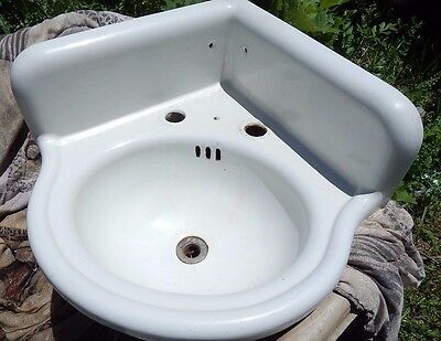 Antique Cast Iron White Porcelain Corner Bathroom Sink Vintage VG Condition