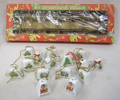 Vintage Christmas Lot FIFTEEN Mini Porcelain Bell Ornaments and OB
