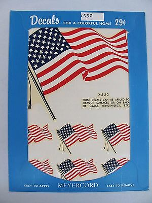 Vintage 1950's Meyercord Transfer Decals NOS - USA Flag American US United X 553