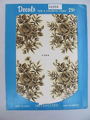 Vintage 1950's Meyercord Transfer Decals NOS - Gold Rose Flower Bouquet  X 545-B