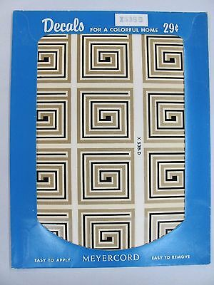 Vintage 1950's Meyercord Transfer Decals NOS - Gold Black Square Spiral  X 538-D