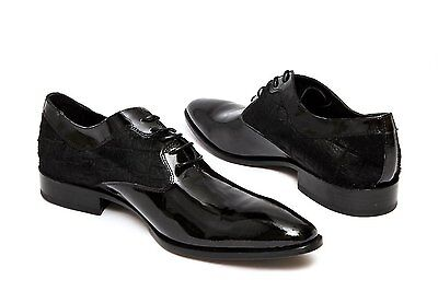 Carlo Ventura 2095 mens black lace up shoe with pony patch