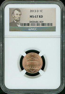 2013-D Lincoln Shield Cent Ngc Ms67  Red