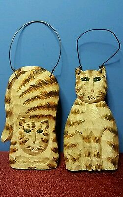 Set of Two Hand Made Hanging Cats