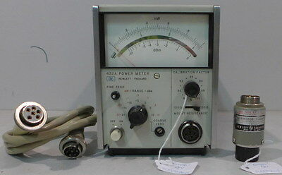 Agilent/HP 432A Power Meter w/478A Thermistor Mount & Cable--Tested & Working #4