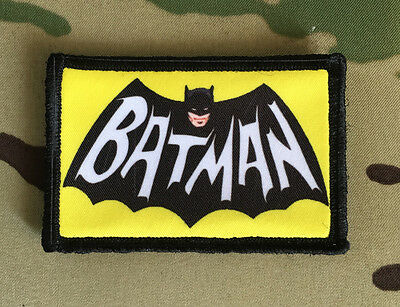 Batman Retro Logo Morale Patch  Tactical Military USA Hook Badge Army Flag