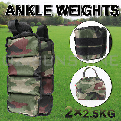 2x2.5kg Adjustable Camouflage Ankle Weights GYM Equipment Fitness Yoga 5kg AU