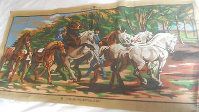 Large Vintage Collection D'art Printed Tapestry Canvas Men With Horses