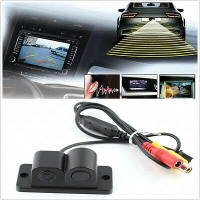 Twin Function Wide Angle CCD Radar Vehicles Reversing Backup Parking Camera Kit