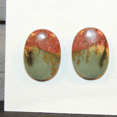 Painted Creek Jasper Cabochons 13x18mm with 4.5mm dome set of 2 (10918)