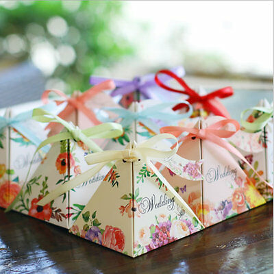 1-100PCS Spring Flower Wedding Party Sweets Cake Candy Gift Favour Favors Boxes