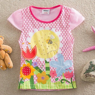 Girls Short Sleeved Embroidered FlowerTop, Cotton, Sizes 2 - 6