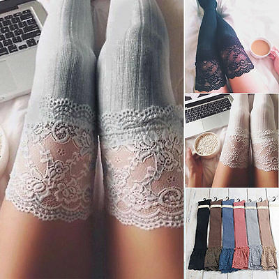 Women Knitting Lace Cotton Over Knee Thigh Stockings High Socks Tights Pantyhose